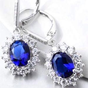 🆕Item🔥Blue Sapphire In 14k White Gold Earrings